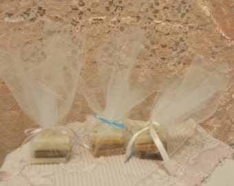 Baby or Bridal Shower Party Favors, 8 Beautifully Wrapped Soap Favors, Bridal Gifts, Shower Gifts, Party Favors, Birthday Favors