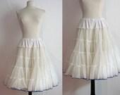 1950s White Crinoline with Blue Trim | 50s Petticoat | Vintage 50s Tulle Crinoline