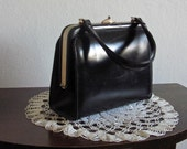 RESERVED: Please do not purchase. 1950s Vintage Opera Clutch / Black Leather Purse / 50s Handbag / 1950s Evening Clutch