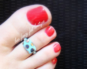 Toe Ring - Blue  - Polka Dot - Glass - Stretch Bead Toe Ring