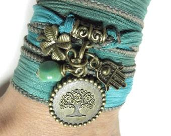Bohemian Tree Of Life Silk Wrap Bracelet,Yoga Jewelry,Hamsa,Wrap Bracelet,Shamrock Good Luck Bracelet,Ribbon Bracelet,Unique Birthday Gift