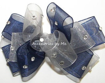 Glitzy Navy Blue Silver Hair Bow Organza Rhinestone Embellished Girls Baby Toddler Children Accessories Wedding Boutique Pageant Party
