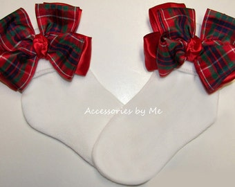 Plaid Bow Socks, Girls Christmas Socks, Baby Scottish Tartan Ribbon Socks, Red Green Blue Plaid Socks, School Holiday Wedding Pageant Socks