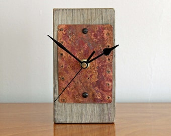 Rustic Mantel or Desk Clock with Salvaged Copper Face (16/21)