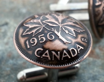 60th Birthday 1956 Canadian Penny Cuff Links 60th Birthday 60th Anniversary Coin Jewelry made from 1956 Canadian Pennies Gift for Men