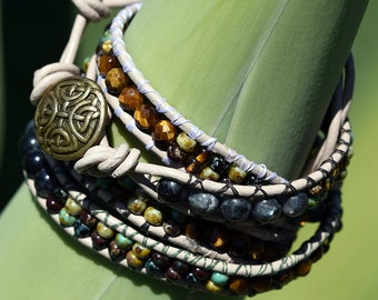 Four Wrap, Dragon Vein Agate, Labradorite, and Faceted Tiger-Eye Leather Wrap Bracelet, Picasso Seed Beads, Leather Bracelets, Metaphysical