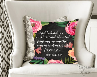 Watercolor Bible Verse Throw Pillow, Watercolor Scripture Pillow, Be Kind to one another, Ephesians 4:32, wedding gift, BK1