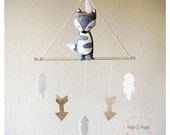 Baby Mobile • Wolf Baby Mobile • Neutral Baby Mobile • Modern Baby Mobile • Be Brave Decor • Arrow baby mobile • Gold Tribal nursery