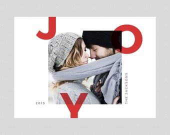 PRINTABLE Photo Christmas Card, Christmas Card, Photo Holiday Card, Holiday Card, Joy, DIY Printable Christmas Card