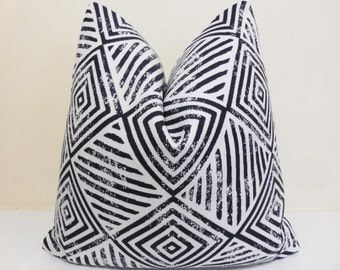 Navy White Sunbrella Pillow Cover - Indoor/Outdoor Sunbrella Pillow- Deck Pillow Cover, Geometric Outdoor Cushion