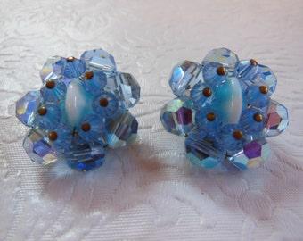 Vintage Aurora Borealis Blue Crystal Bead Cluster Earrings