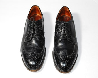 Vintage Wingtip Black Leather Men's Size 10 Oxford Brogue Longwing Gunboat Shoes