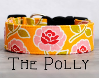 """Girly Vintage Inspired Yellow & Light Pink Dog Collar """"The Polly"""""""