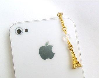 ON SALE Gold Eiffel Tower Dust Plug Charm, For iPhone or iPod, Phone Charm, Cute And Feminine :)