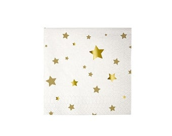 Gold Stars Small Paper Napkins by Meri Meri, Party Supplies, Tableware