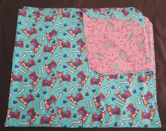 Chihuahua Puppy Dog Flannel Baby Blanket - Double Sided - Receiving Blanket (B1)