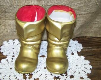 Santa Boots Plastic Santa Boots Gold Santa Boots West Germany