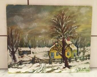 Winter Landscape, Vintage Wall Decor, Hand Painted Canvas, Original Painting, Vintage Painting