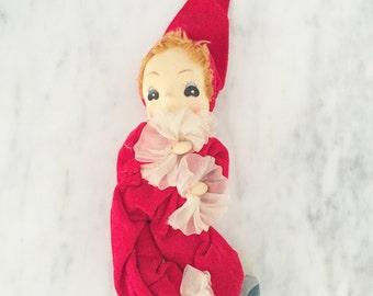 Vintage Plush Elf, Mesh Face Clown, Red Velvet Clown Ornament, Christmas Decor, Made in Japan, Vintage Plush Doll