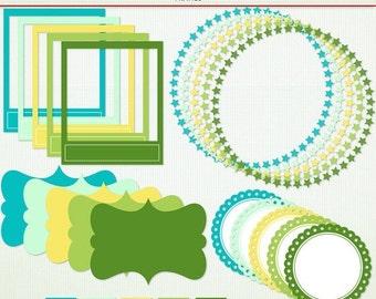 SALE Fizz Frames - Green Blue Yellow  -  Scrapbooking Clip Art Clipart -  Instant Download G5034