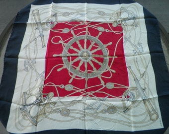 Silk Nautical Scarf by Kreier Made in Switzerland for Marshell Field and Company
