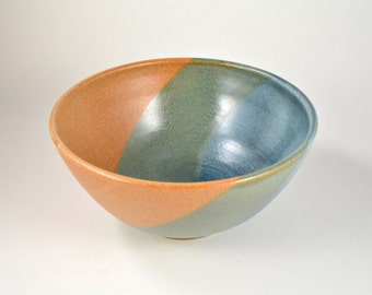Pottery Serving Bowl Mixing Bowl, Wheel Thrown Stoneware Clay Ceramic Bowl, 5 Cups Blue Green Brown