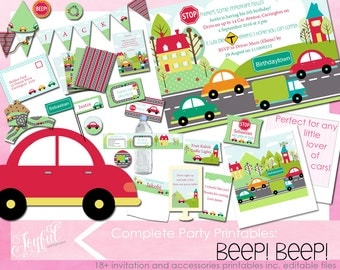 Car Birthday Party Invitations and Printables