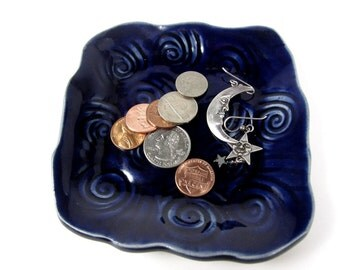Blue Trinket Dish, Ring Dish, Boho Dorm Décor, Blue Soap Dish, Candle Dish, Cobalt Blue Dish, Blue Home Decor, Ring Holder, Bohemian Décor