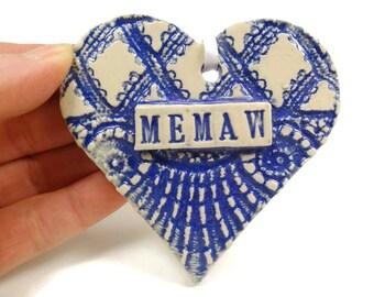 Memaw Heart Ornament, Mother's Day Gift, Grandmother Gift, Memaw Birthday, New Grandmother, Memaw Gift, I Love Memaw, Grandparent Gift