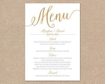 Gold Wedding Menu Card, Printable Wedding Menu // Bella Script DIY Printable Menu Cards // Gold Wedding Menu Printable