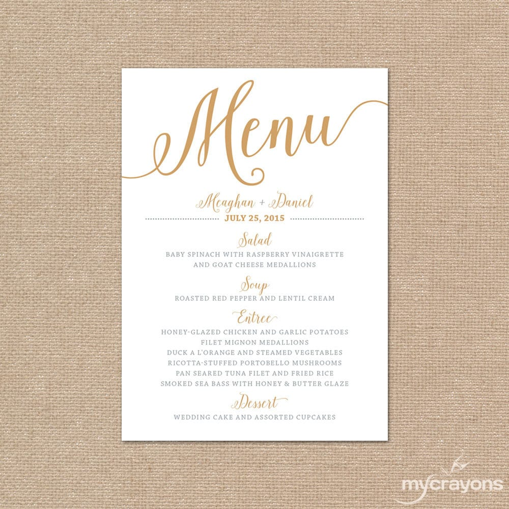 Gold wedding menu card printable wedding menu bella script for Menu templates for weddings