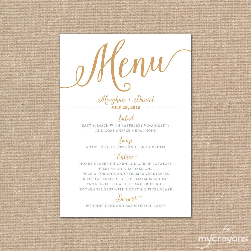 gold wedding menu card printable wedding menu bella script With images of wedding menu cards