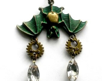 Steampunk Bat Necklace Sleeping Bat Handmade Gift