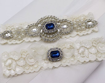 Something Blue Wedding Garter Set , Rhinestone and Crystal Garter, Lace Bridal Garter , Wedding Garter , Garters for Wedding