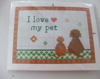I LOVE MY Pet Counted Cross Stitch Kit/Dog and Cat Cross Stitch Kit/Humane Society of US