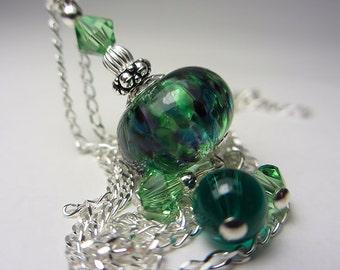 Artisan Lampwork Necklace Green Drop Necklace Sterling Silver Swarovski Necklace Boho Necklace Italian Lampwork Bohemian Jewelry Gift /  Her