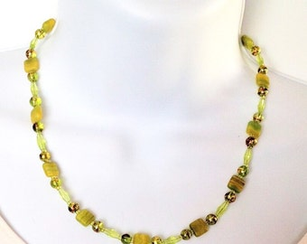 Beaded necklace Beaded jewelry Green glass bead necklace  Princess 18 inch necklace Glass bead jewelry
