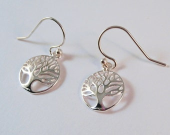 Sterling Silver Tree Of Life Earrings, Sterling Silver Tree Earrings, Tree Of Life Earrings, Circle Of Life Earrings, Tree Earrings, Life