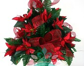 Beautiful XL Red Poinsettia's With Deco Mesh 3 Inch Cemetery Vase