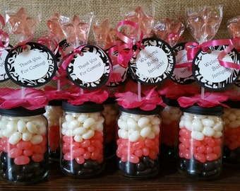 Personalized Pink White Black Baby Food Jar Party Favors