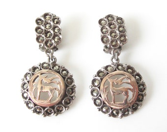 Vintage Silver Marcasite Clip On Dangle Earrings With Rose Gold Deer