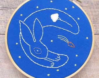 Rabbit in the Moon PDF Embroidery Hoop Art Pattern - Easter Hand Embroidery - Fairy Tale Nursery