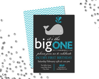 Whale First Birthday Party Invitation - The Big One - Blue Glitter Image and Dark Grey - Chevron Stripes BACKSIDE INCLUDED - DIY - Printable