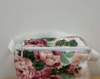 Vintage Stripe Rose Fabric Insulated Lunch Bag Shabby Chic Preppy