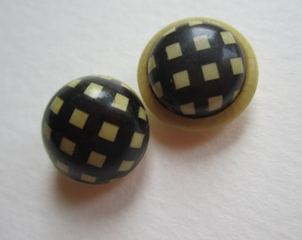 Set of Vintage Celluloid Black and Cream Button