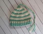 0-3 Month Seafoam Green & Cream Striped Jamie Cap -- Ready to Ship