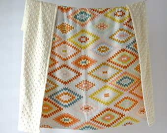 Large Baby/Toddler Blanket, Colorful Light Kilim with Cream Minky Dot