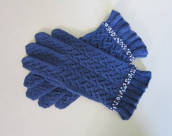 Fingerless Gloves Hand Knit Gloves Blue Gloves Wool Lace Gloves for Women Warm Womens Gifts Wool Gloves Handmade Gloves Fingerless Gloves
