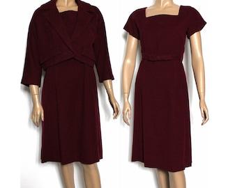 Vintage 1940s Dress//Maroon//40s Dress//Wiggle//Cashmere//Bolero Jacket//