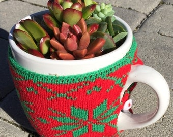 Living Succulents, Christmas Decor, Hostess gift, Holiday Succulent Mug!